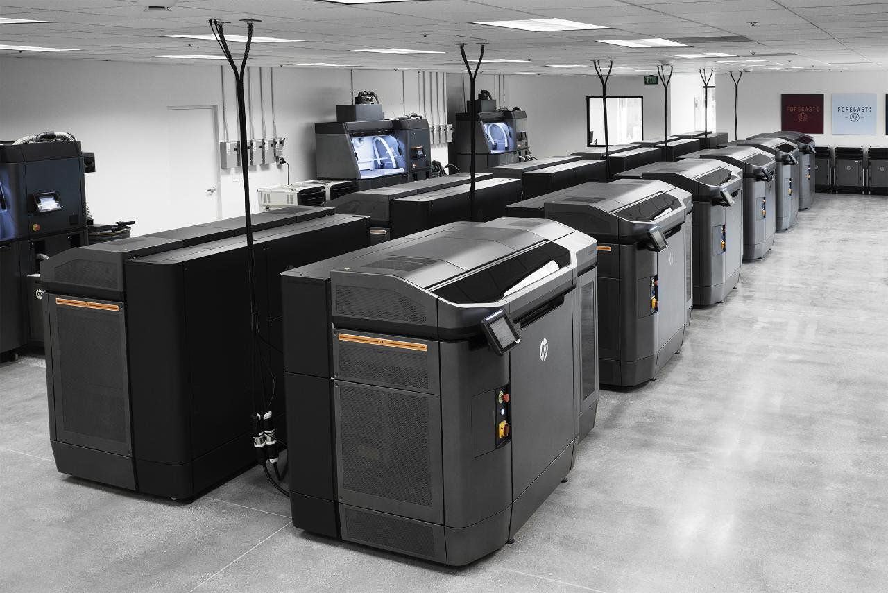 HP's 3D printers lined up for production.