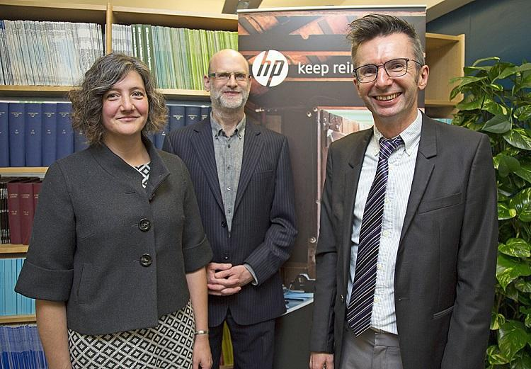 Left to right: Philippa Bayley, Security Lab Operations Manager, HP UK, Jonathan Griffin, Senior Security Researcher, HP UK, Mark Ryan, Professor of Cybersecurity at University of Birmingham