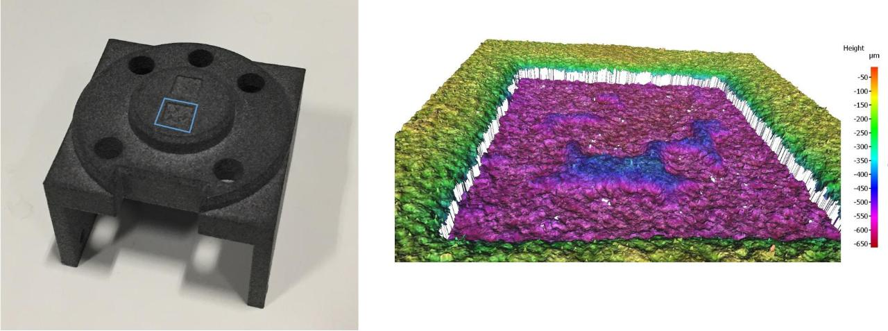 Multi-jet-fusion printed part on the left and a high resolution scan of the indicated portion of it on the right showing the micro surface structure used for authentication.