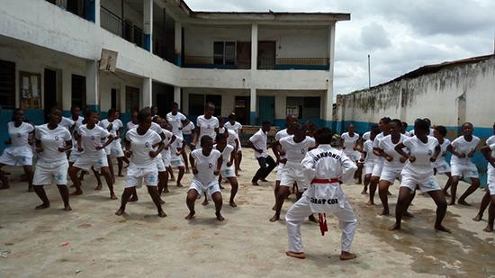 Women and girls take part in a Safe Kicks class in Lagos, Nigeria.