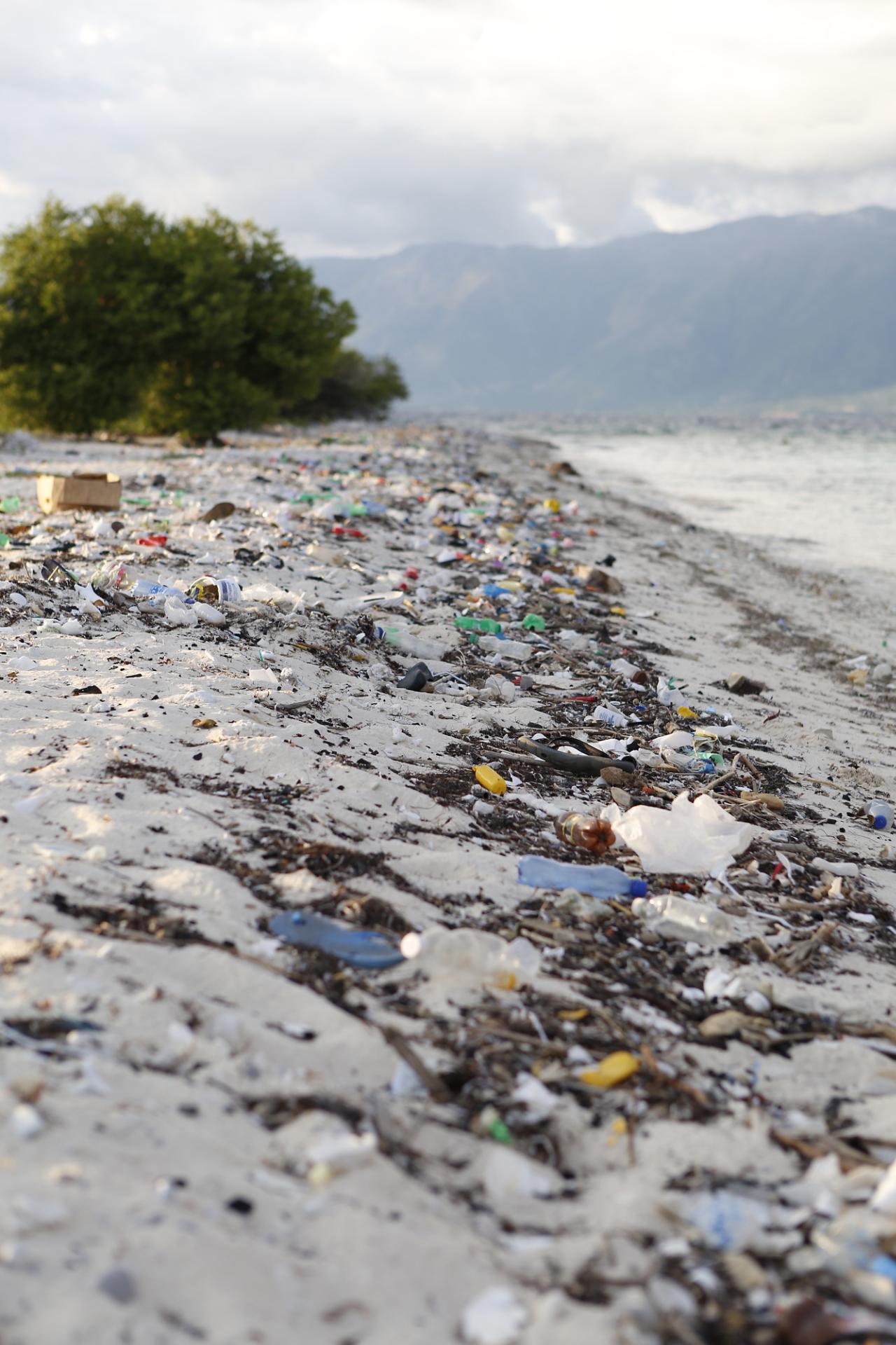 Plastic garbage piles up on Haiti's beaches.