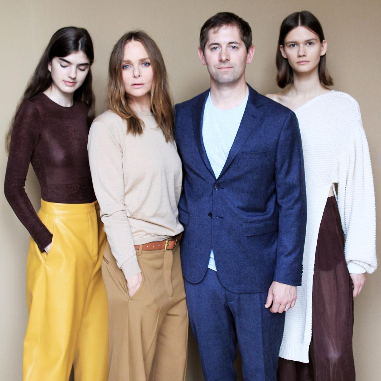 Fashion designer Stella McCartney (second from left) partnered with Bolt Threads CEO Dan Widmaier (second from right) to create clothing made from Microsilk.