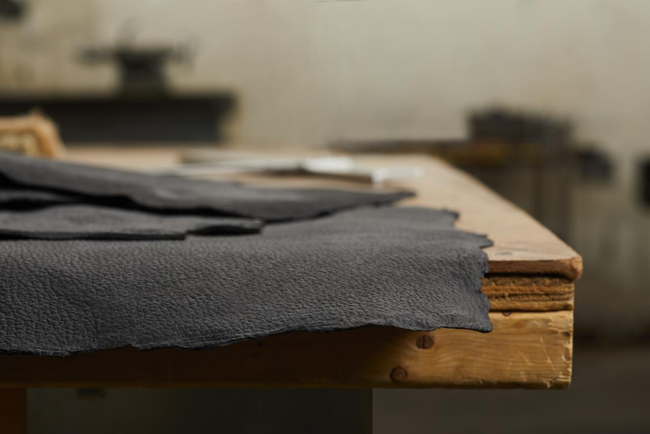 Bolt Threads' synthetic leather is made of compressed mycelium and dyed with English Breakfast tea.