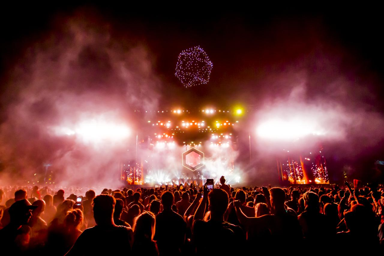 HP- and Intel-powered drones flew over the stage during ODESZA's performance at Coachella.