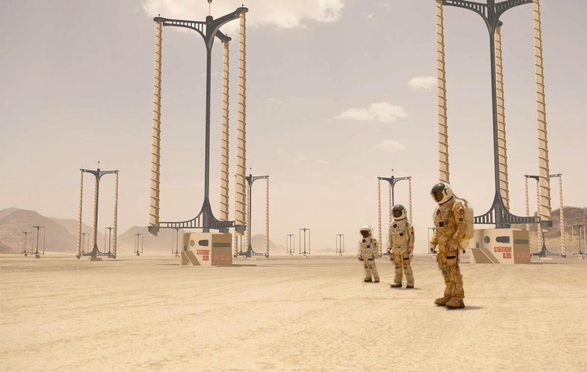 One of the Mars Home Planet contest winners designed wind turbines that reap energy from dust storms—and provide a protective shield for settlements.
