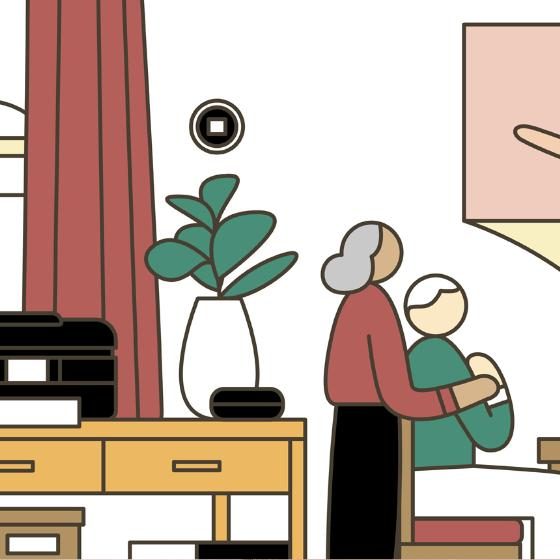 Illustration of senior citizen couple having a video chat with grandchildren from their home computer.