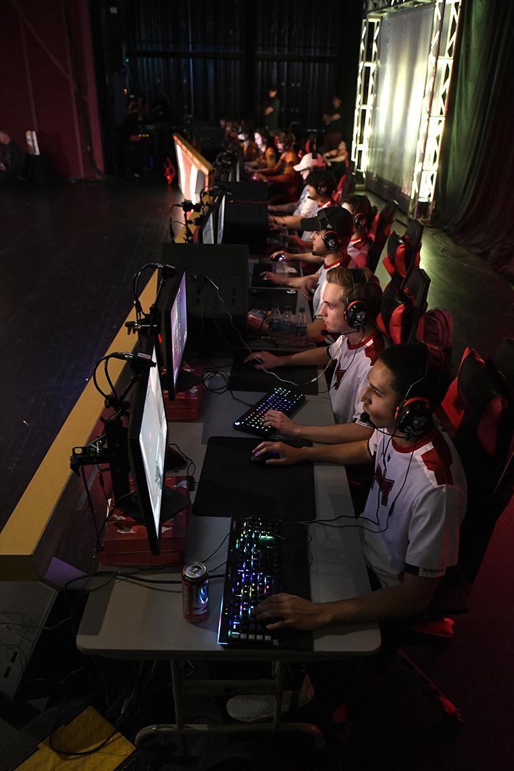 Maryville Saints in focused competition, playing on OMEN by HP gaming gear.