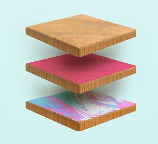 Latex R Series technologies enables printing on hard surfaces, such as wood.
