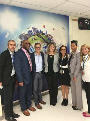 Administrators and officials from the Graham School and Greenburgh-Graham Union Free School District gathering to mark HP's technology gift.